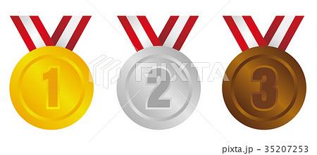 ランキングメダル アイコンセット 1位 3位 金銀銅のイラスト素材