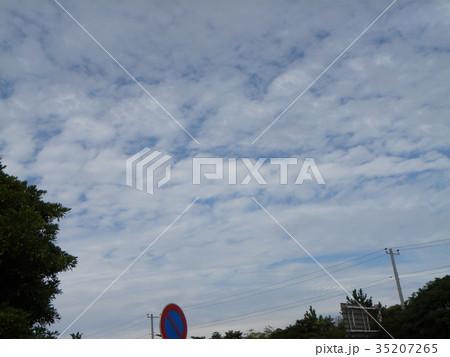 秋の検見川浜の青空と白い雲 35207265