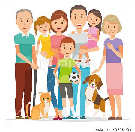 家族のイラスト-3世代の7人とペット 35210055