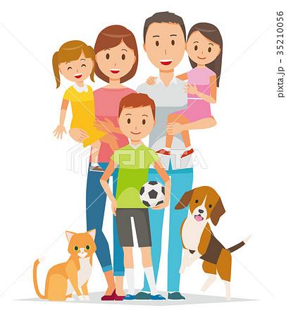 家族のイラスト-親子5人とペット 35210056
