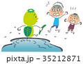 河童の登場に驚く子供 35212871