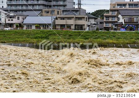 大型台風翌朝の増水 35213614