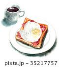 水彩 トースト コーヒーのイラスト 35217757