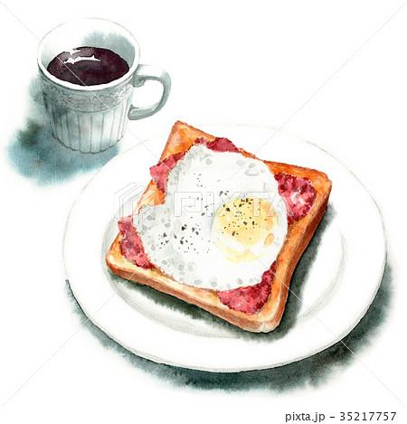 水彩で描いたベーコンエッグトーストとコーヒー 35217757
