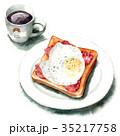 水彩 トースト コーヒーのイラスト 35217758
