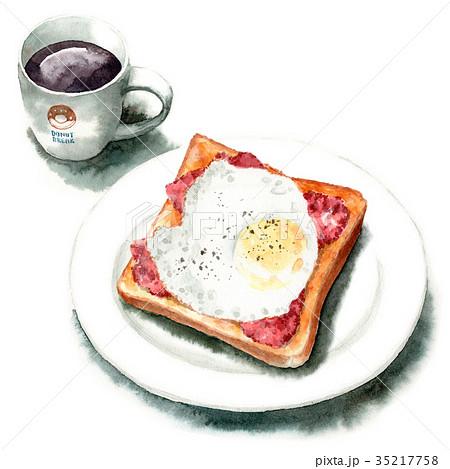 水彩で描いたベーコンエッグトーストとコーヒー 35217758