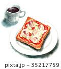 水彩で描いたピザトーストとコーヒー 35217759