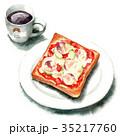 水彩 トースト コーヒーのイラスト 35217760