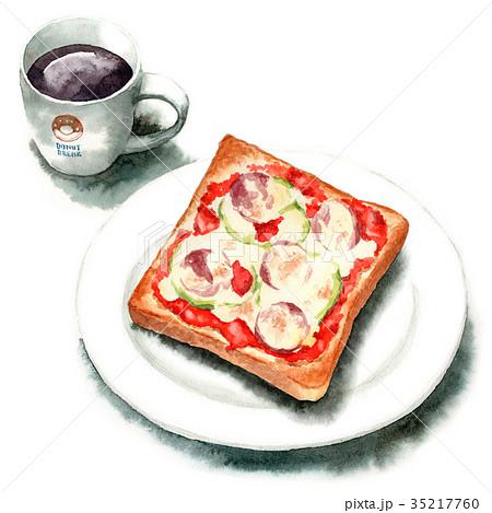 水彩で描いたピザトーストとコーヒー 35217760