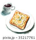 水彩 トースト コーヒーのイラスト 35217761