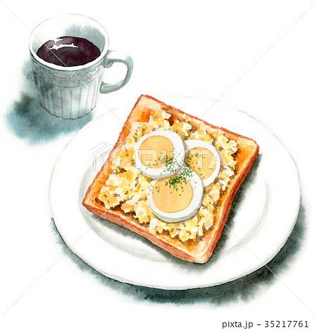 水彩で描いたたまごトーストとコーヒー 35217761