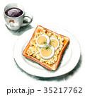 水彩 トースト コーヒーのイラスト 35217762