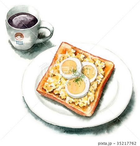 水彩で描いたたまごトーストとコーヒー 35217762