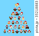 Set Different Breeds of Dogs in Hats of Santa 35218883