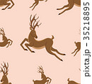 Seamless Pattern with Leaping Deers, Vintage 35218895