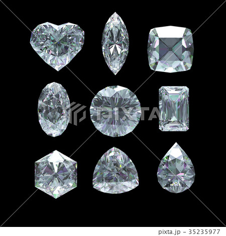 Group of diamond shape with clipping path 35235977