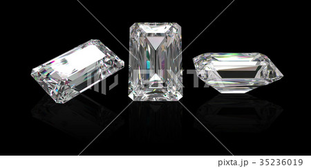 Diamond emerald cut with clipping path 35236019