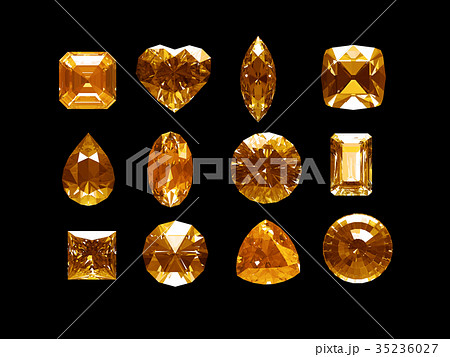Group of imperial topaz with clipping path 35236027