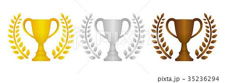 トロフィー アイコンセット 金銀銅 1位2位3位 のイラスト素材