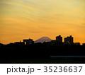 見沼田んぼから見える、黄昏時の富士山 35236637