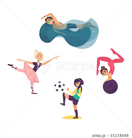 vector cartoon kids doing sports set 35238088