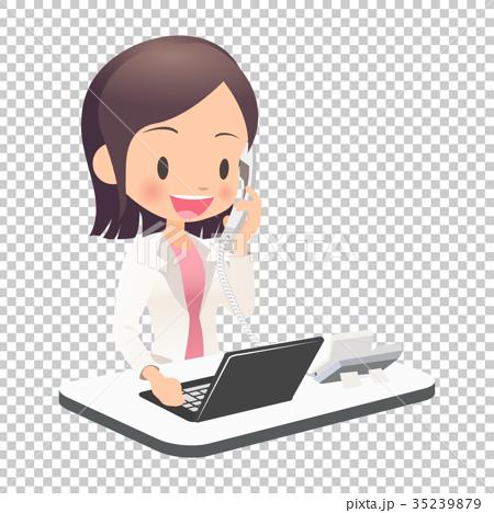 電話対応するスーツ姿の若い女性会社員 35239879