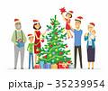 ベクトル クリスマス メリーのイラスト 35239954