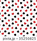 トランプモチーフ柄のシームレス(連続)パターン 背景素材 白背景・ベクター 35250825
