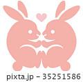うさぎ 動物 ピンクのイラスト 35251586