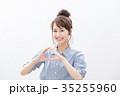 笑顔 若い女性 カジュアルの写真 35255960