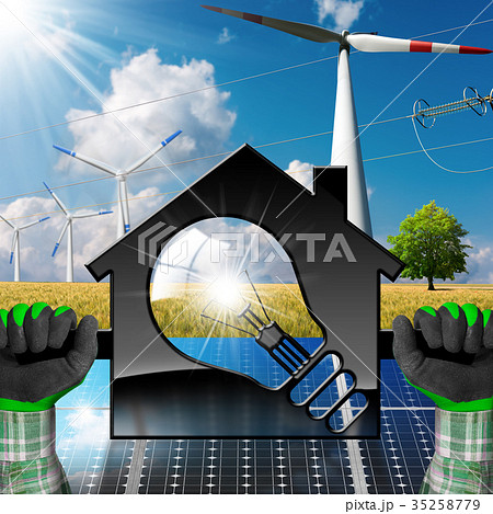 House with Light bulb and Renewable Resources 35258779