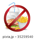 Fast Food Danger Vector. No Food Allowed Symbol. 35259540