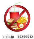 Fast Food Danger Label Vector. No Food Or Drinks 35259542
