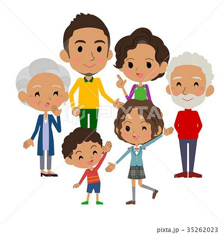 Family Three Generations Blackgatherのイラスト素材 35262023 Pixta