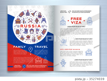 russian travel brochure template colorful russianのイラスト素材