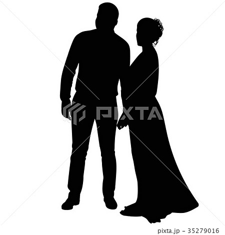 Silhouette of a young guy and a girl 35279016