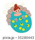 柚子温泉 温泉 女性のイラスト 35280443