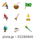 Country Brazil icons set, cartoon style 35280840