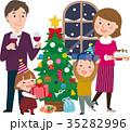 クリスマス 家族 クリスマスツリーのイラスト 35282996