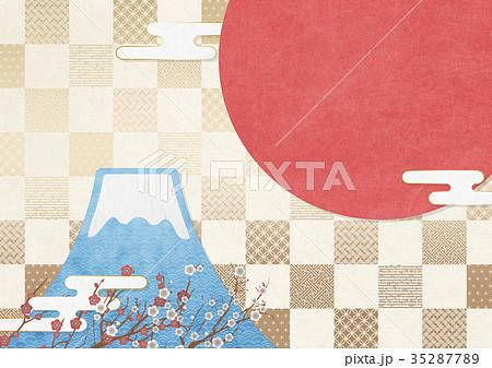 和風イラスト お正月 富士山 日の丸 市松模様 (A3 350dpi) 35287789