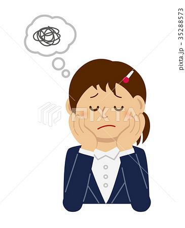 頬杖をついて悩む考え込む 女性ol 上半身イラストのイラスト素材