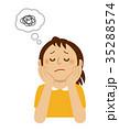 頬杖 女性 考えるのイラスト 35288574
