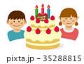 誕生日 バースデーケーキ ベクターのイラスト 35288815