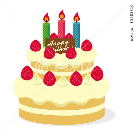 ハッピーバースデー 誕生日ケーキイラストのイラスト素材 35288816 Pixta