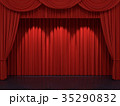 Red stage curtains 35290832
