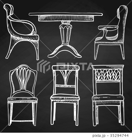 Sketch set isolated furniture. 35294744