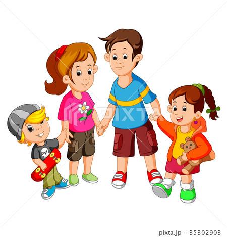 happy family holding handsのイラスト素材 35302903 pixta