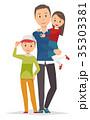 家族のイラスト(冬)-父子家庭 35303381