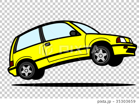 80年代風 国産ハッチバック車 黄色 自動車イラスト 35303659