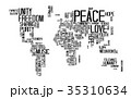 Peace Concept by Text in World Map Shape 35310634